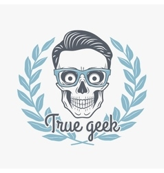 True geek skull with hipster glasses and vector