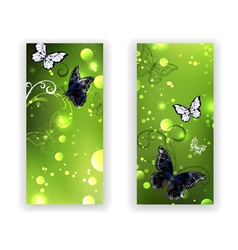 Two Green Banners with Butterflies vector
