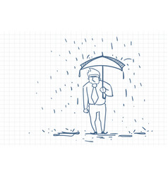 upset business man wet under rain with umbrella vector image