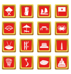 Vietnam travel icons set red vector