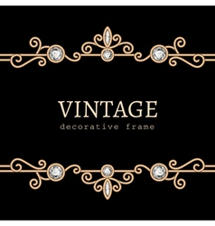 Vintage gold jewelry frame vector