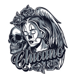 vintage monochrome chicano tattoo concept vector image