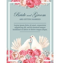 Wedding invitation with white doves vector image