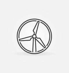 Wind turbine round thin line concept icon vector
