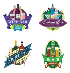 Wine beer bar signs labels badges vector