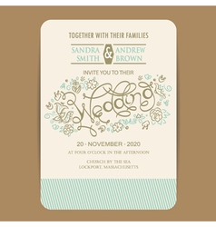 Beautiful wedding invitation card vector image vector image