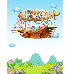 Happy easter greeting in the sky vector image