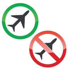 Plane permission signs set vector image