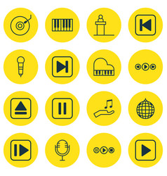 set of 16 multimedia icons includes extract vector image vector image