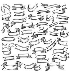 sketch of hand drawn ribbon set vector image vector image
