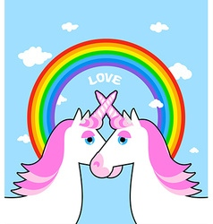 Two pink unicorn and rainbow love Symbol of LGBT vector image