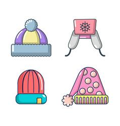 winter hat icon set cartoon style vector image