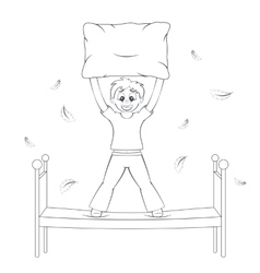 Bedtime in action Boy starts pillow fight vector image vector image