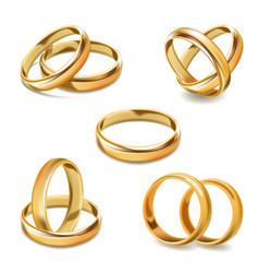 gold wedding rings pair 3d realistic icons vector image