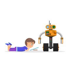 little boy lies and read beside robot vector image