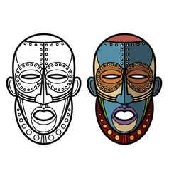 mexican indian aztec masks coloring page vector image vector image