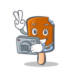 Photography ice cream character cartoon vector