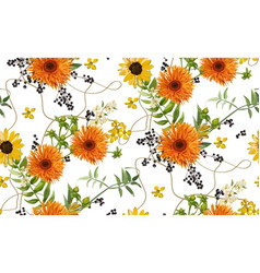 seamless pattern bouquets of orange yellow vector image vector image