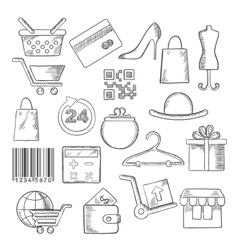 Shopping business and commerce sketch icons vector image