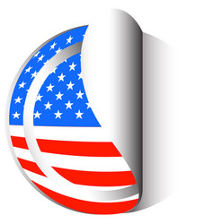 america flag on round sticker vector image vector image