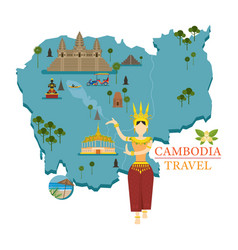 cambodia map and landmarks with apsara dancer vector image vector image