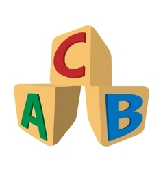 Cubes with letters ABC cartoon icon vector image vector image
