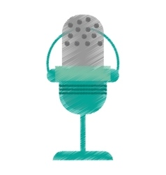 drawing green microphone vintage communication vector image vector image
