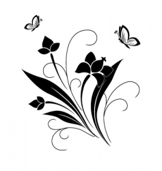 flower pattern and butterflies vector image vector image