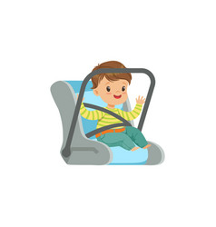 cute little boy sitting in car seat safety car vector image