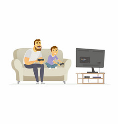 father and son playing video games - cartoon vector image vector image
