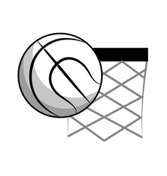 figure basketball and basket with the ball icon vector image vector image