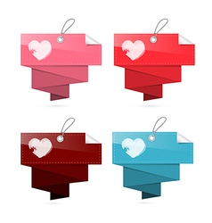 Paper Labels for Valentine Wedding with Hearts vector image vector image