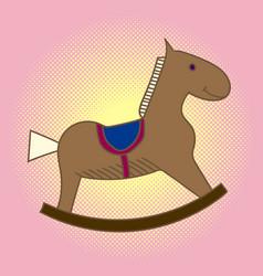 pop art child wooden horse carousel for children vector image