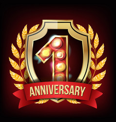 1 year anniversary banner one age first vector image