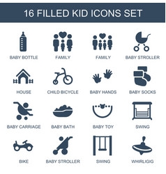 16 kid icons vector
