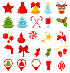 25 colorful cartoon christmas elements vector image