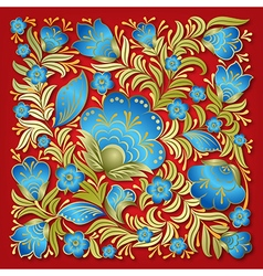 abstract summer blue floral ornament on red vector image