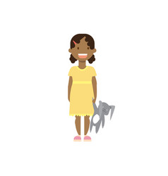 african girl with toy full length avatar on white vector image