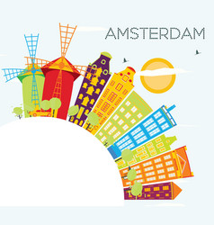 amsterdam skyline with color buildings blue sky vector image