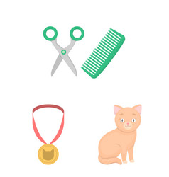 An animal cat cartoon icons in set collection for vector