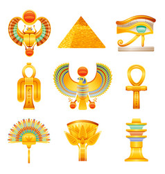 Ancient egypt icon set egyptian pharaoh vector