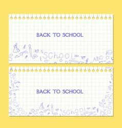 Banner back to school note paper vector
