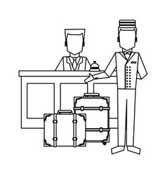 Bellboy with luggage at reception black and white vector