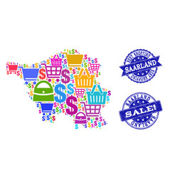 Best shopping collage of mosaic map of saarland vector