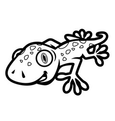 Black and white cute gecko crawling in cartoon vector