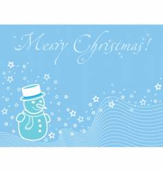 blue christmas wallpaper with snowman vector image vector image