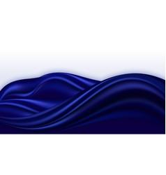 Blue silk wavy swirl background smooth satin vector