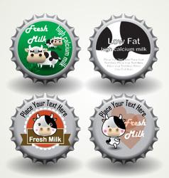 Bottle caps of fresh milk vector image