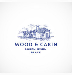 cabin in the woods abstract sign symbol or vector image