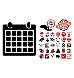 Calendar Flat Icon with Bonus vector